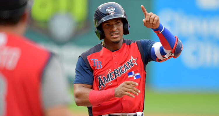 CLEVELAND, OHIO - JULY 07: Wander Franco #40 of the American League celebrates after hitting a single during the fourth inning against the National League during the fourth inning during the All-Stars Futures Game at Progressive Field on July 07, 2019 in Cleveland, Ohio. The American and National League teams tied 2-2. (Photo by Jason Miller/Getty Images)